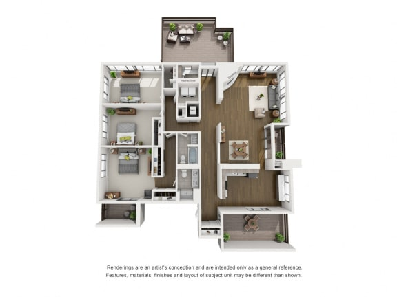 Penthouse A  – 3 Bedroom 2 Bath Floor Plan Layout – 2240 Square Feet