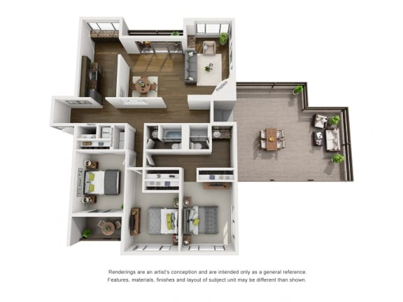 Penthouse B  – 3 Bedroom 2 Bath Floor Plan Layout – 1830 Square Feet