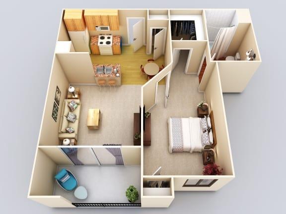 Floor Plan  Cayman 1Bed1Bath Floor Plan at 55+ FountainGlen Grand Isle, California, 92562
