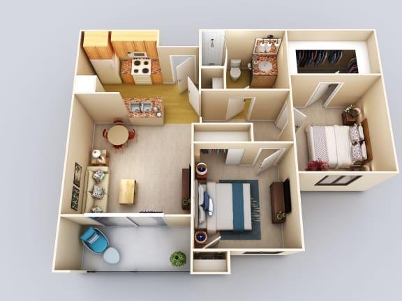 Indigo 2Bed1Bath Floor Plan at 55+ FountainGlen Grand Isle, Murrieta, CA, 92562