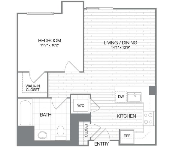 Taft - 1 Bedroom 1 Bath Floor Plan Layout - 634 Square Feet