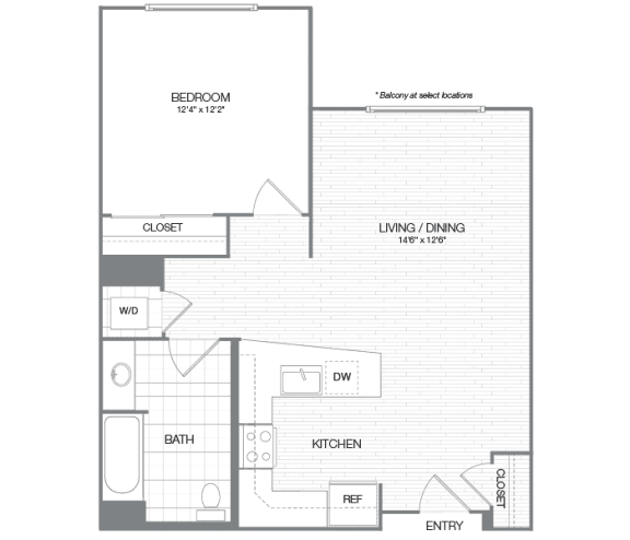 Reagan - 1 Bedroom 1 Bath Floor Plan Layout - 774 Square Feet