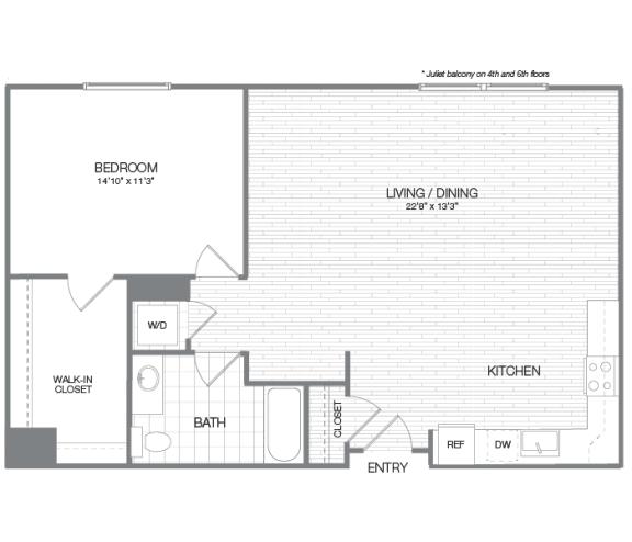 Jefferson - 1 Bedroom 1 Bath Floor Plan Layout - 891 Square Feet