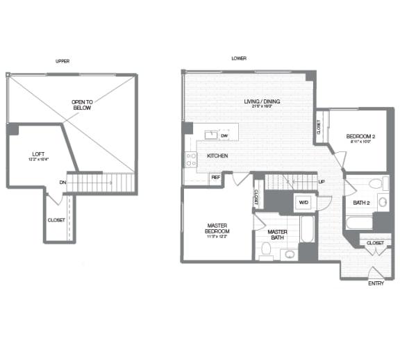 Monroe - 2 Bedroom 2 Bath Floor Plan Layout - 1251 Square Feet
