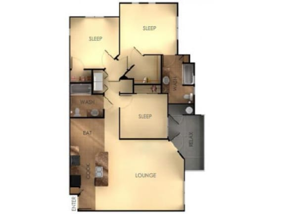 Three Bedroom Two Bathroom A Floorplan at Ascent at Papago Park, Phoenix, AZ, 85008