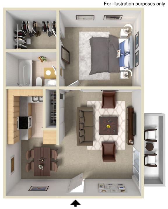 1 Bed 1 Bath Floor Plan at Morning View Terrace Apartment Homes, 439 W El Norte Parkway, Ste 102, Escondido