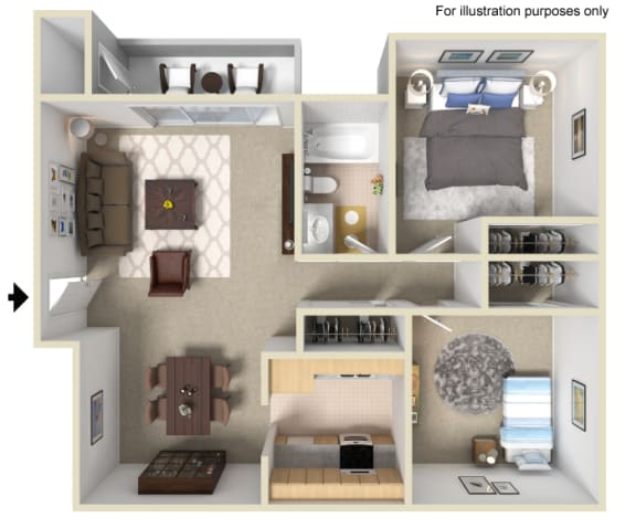 2 Bed 1 Bath Floor Plan at Morning View Terrace Apartment Homes, Escondido, California
