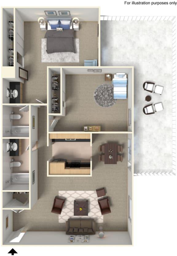 Two Bedroom B1 Floor Plan at Stoneridge Apartment Homes Upland, CA
