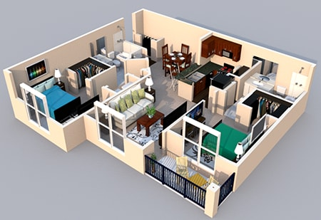 3-D Floor Plan 2 bedroom 2 bath at Centerville Manor Apartments, Virginia