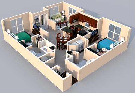 Floor Plan  3-D Floor Plan 2 bedroom 2 bath at Centerville Manor Apartments, Virginia, 23464