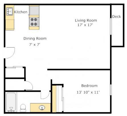 One Bedroom Floorplan at The Boulevard At South Station