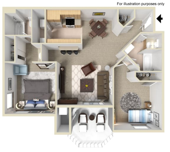 Bordeaux Floor Plan - 2 Bed 2 Bath, at Tuscany Ridge Apartments, Temecula, California