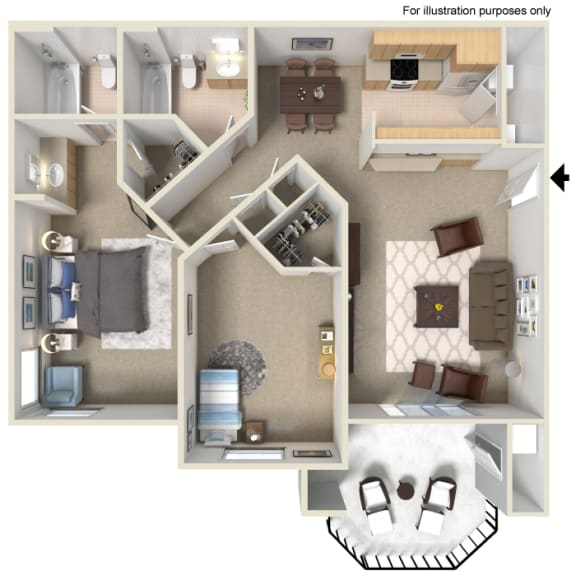 Two Bed Two Bath Floor Plan at Tuscany Ridge Apartments , 41955 Margarita Road, CA