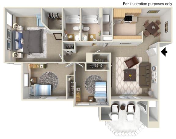 Three Bed Two Bath Floor Plan, at Tuscany Ridge Apartments, CA