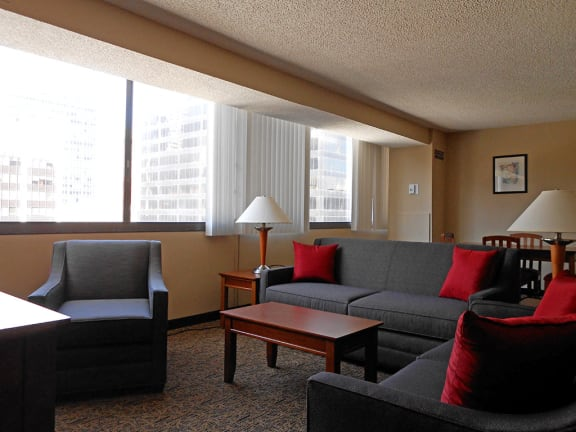 Fully Furnished Corporate Housing Living Room at Reserve Square, Cleveland, OH