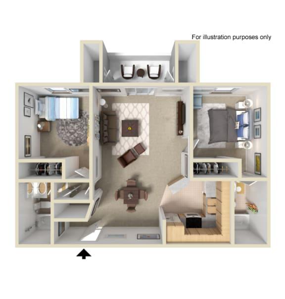 Two Bedroom Deluxe, Apartments at Terrace Gardens Apartment Homes Escondido California