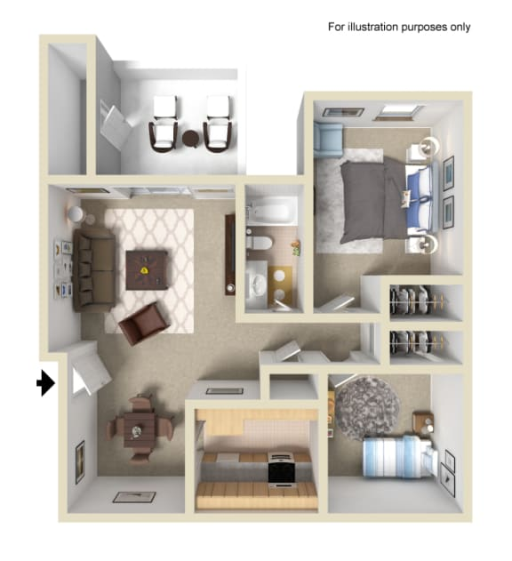 Two Bedroom One Bath Floor Plan at Terrace Gardens Apartment Homes, Escondido