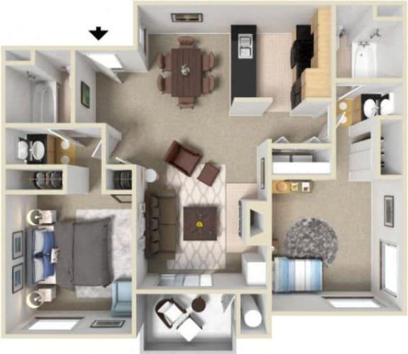 Two Bedroom Two Bathroom Floor Plan