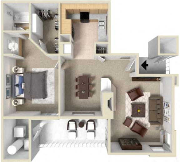 1 bedroom floor plan at La Serena, Rancho Bernardo, CA