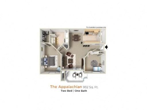 Appalachian Premier  - 2 Bedroom 1 Bath Floor Plan Layout - 932 Square Feet