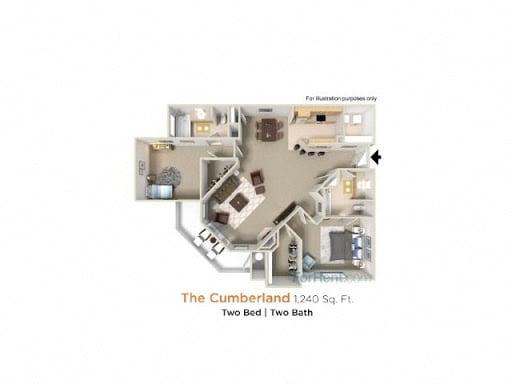 Cumberland Premier - 2 Bedroom 2 Bath Floor Plan Layout - 1240 Square Feet