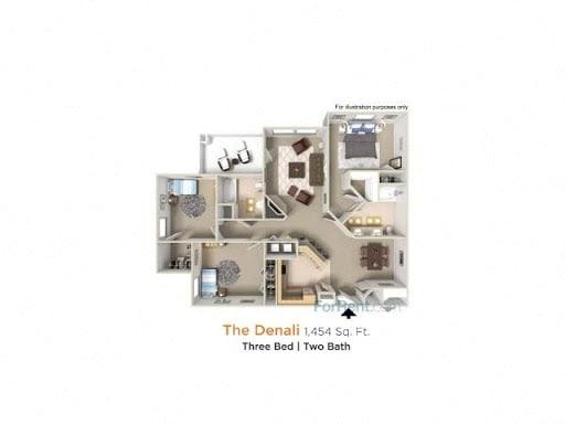 Denali Premier - 3 Bedroom 2 Bath Floor Plan Layout - 1454 Square Feet