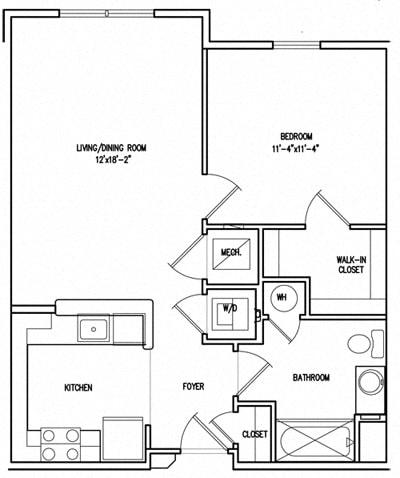 Floor Plan  Victory Court 1 Bedroom Floor Plan