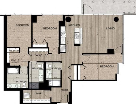 Floor Plan  78c1 3BR Floor Plan at Catalyst, Chicago, IL, 60661