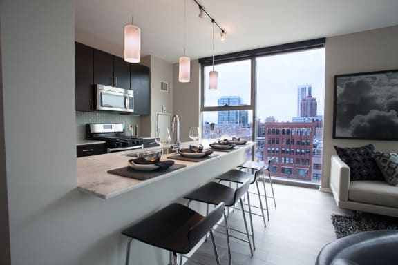 Breakfast bar and Kitchen at Catalyst, Chicago, IL,60661