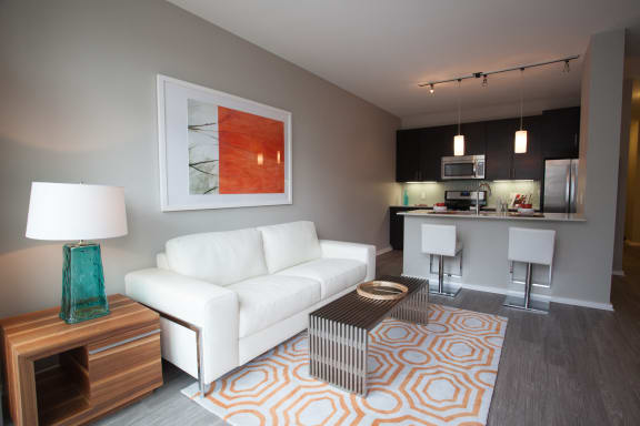 spacious and modern living room at Catalyst, Chicago, IL,60661