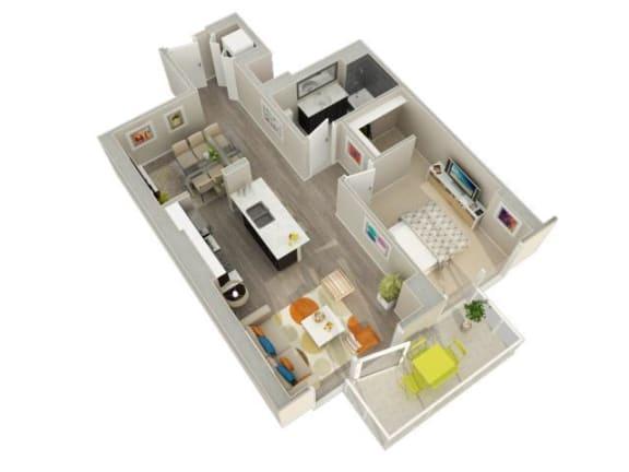 Floor Plan  1 Bedroom 1 Bath B Floorplan at Catalyst