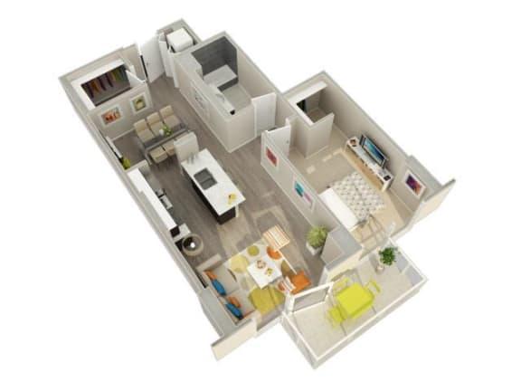 Floor Plan  1 Bedroom 1 Bath C Floorplan at Catalyst, Chicago, IL, 60661
