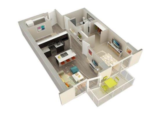 Floor Plan  1 Bedroom 1 Bath A Floorplan at Catalyst