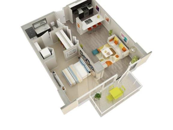 Floor Plan  1 Bedroom 1 Bath (04 & 05) Floorplan at Catalyst, Chicago, IL, 60661
