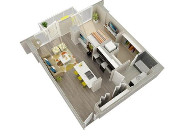 Floor Plan  1 Bedroom 1 Bath (06 & 07) Floorplan at Catalyst, Chicago, IL, 60661