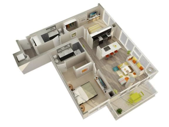 Floor Plan  2 Bedroom 2 Bath D Floorplan at Catalyst, Chicago, IL, 60661