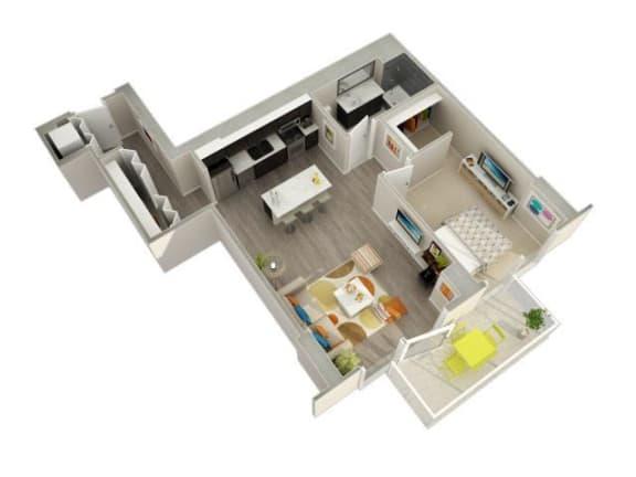 Floor Plan  1 Bedroom 1 Bath 3D Floorplan at Catalyst