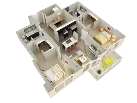 Floor Plan  2 Bedroom 2 Bath B Floorplan at Catalyst, Chicago, IL, 60661