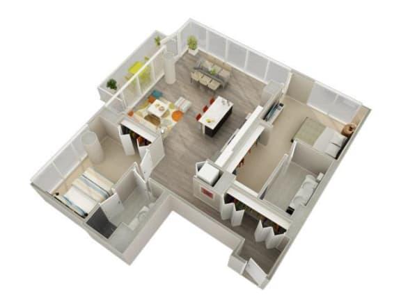 Floor Plan  2 Bedroom 2 Bath E Floorplan at Catalyst, Chicago, IL, 60661