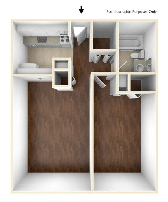 One Bedroom Floor Plan Blake Estates Apartments
