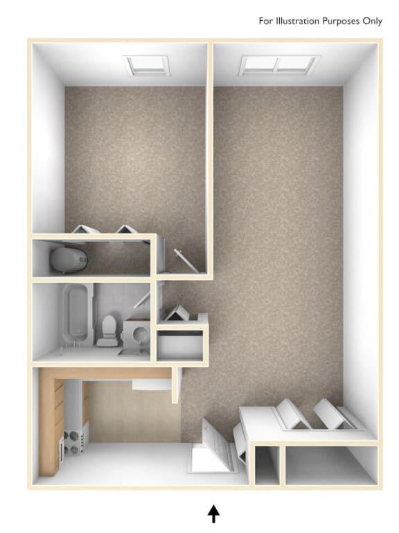 One Bedroom Floor Plan Branchwood Towers Apartments