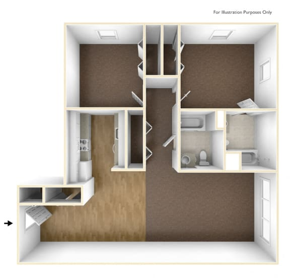 Two Bedroom Apartment Floor Plan Walkover Commons Apartments