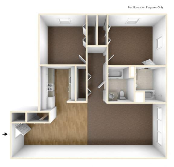 Floor Plan  Two Bedroom Apartment Floor Plan Walkover Commons Apartments