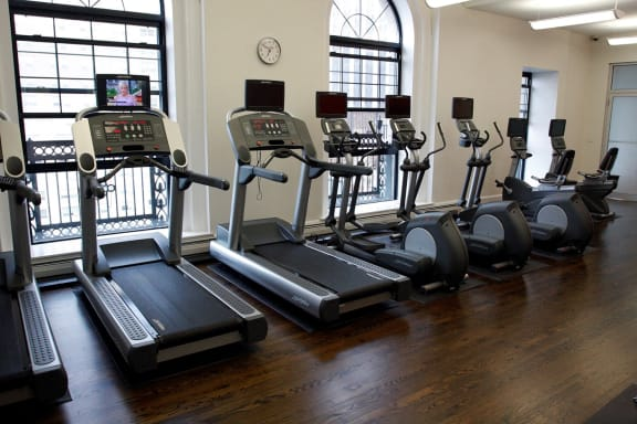 24 hour Fitness Center at The Belmont by Reside Apartments, Chicago, IL