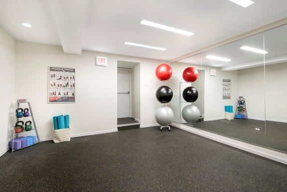 Fitness Center with Separate Spin Room at Irving Courts by Reside Apartments, 718 W Irving Park Rd, 60613-3146