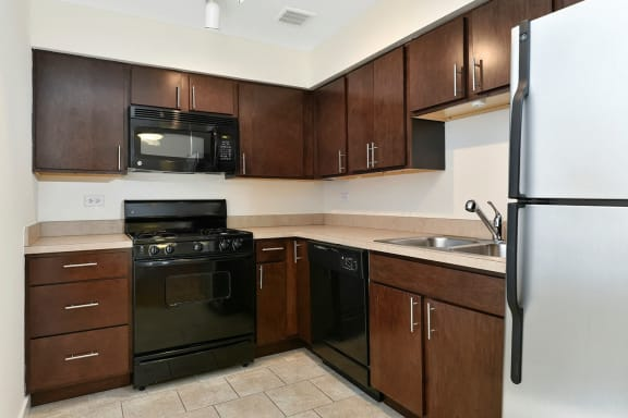 Fully equipped kitchen at Reside on Stratford, Chicago, IL,60657