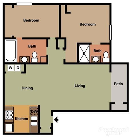 2 Bed 2 Bath A Floorplan at Terramonte Apartment Homes, Pomona, CA 91767