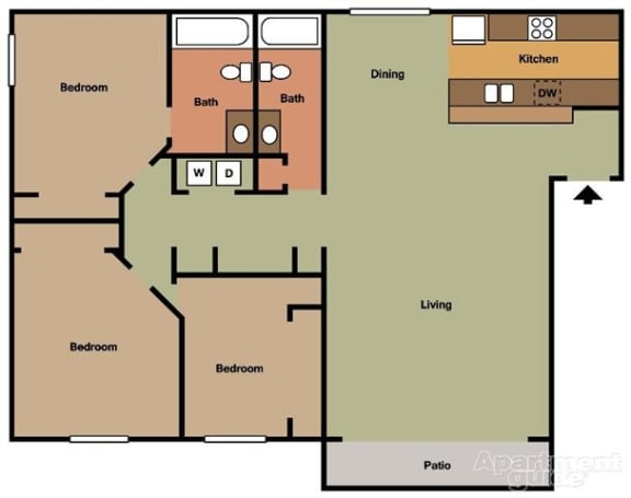 3 Bed 2 Bath Floorplan at Terramonte Apartment Homes, 150 West Foothill Boulevard