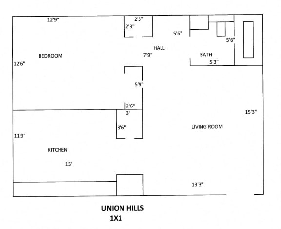 Union Hill Floor Plan 1 bed 1 bath