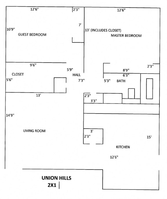 UnionHill Floor Plan 2 bed 1 bath
